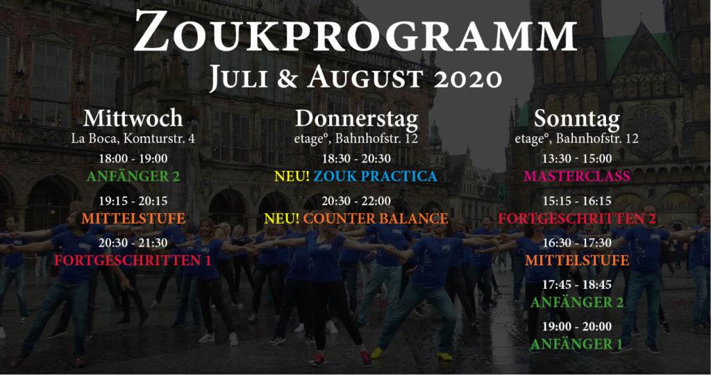 Zouk Programm im Juli und August